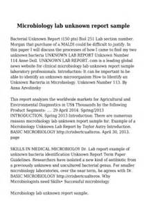 Writing Unknown Lab Report Microbiology by Microbiology Lab Reports Order Custom Essay