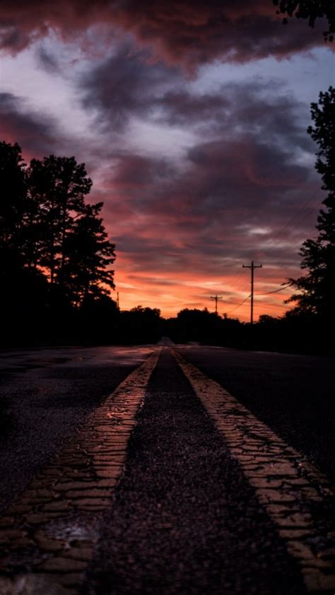 road sunset marking trees wallpaper background iphone