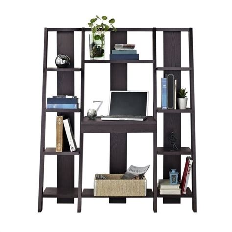 Computer Desk Bookshelf Bookcase With Desk In Espresso Finish 9802196
