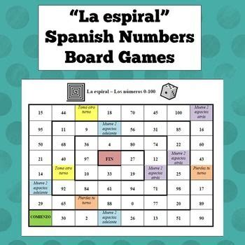 printable spanish board games spanish numbers board game board games speak spanish