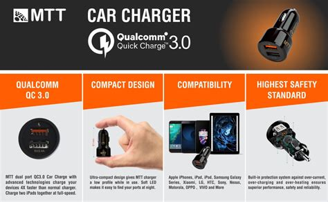 boat car quick charger 3 0 mtt qualcomm certified quick charge 3 0 dual port car