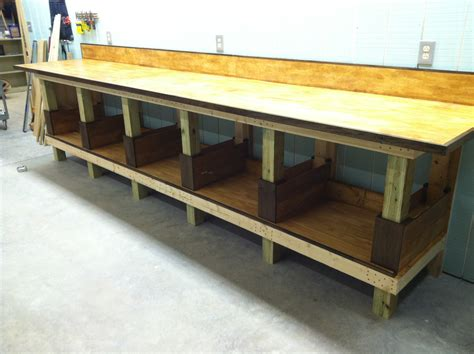 plywood work bench shop work bench with top and back splash attached top is