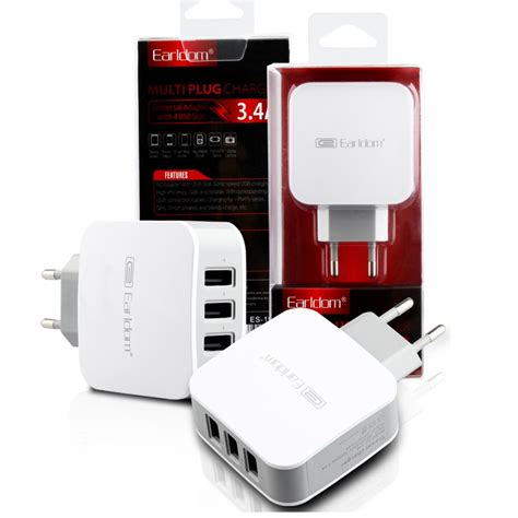 Charger Adaptor Iphone Kaki 3 Original original 3 ports 5v 3 4a usb eu wall chargers adapter charge for iphone for samsung