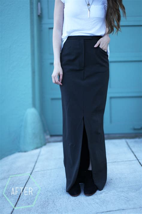 easy trousers to fitted maxi skirt with slit refashion