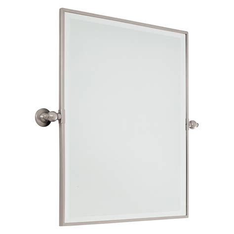 30 Inch Xl Brushed Nickel Rectangular Pivoting Mirror Pivoting Bathroom Mirror