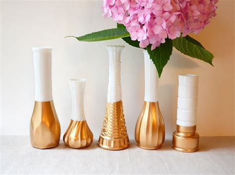 Gold Dipped Vases by Gold Dipped Milk Glass Vase Set Of 5 Vases Vintage Wedding