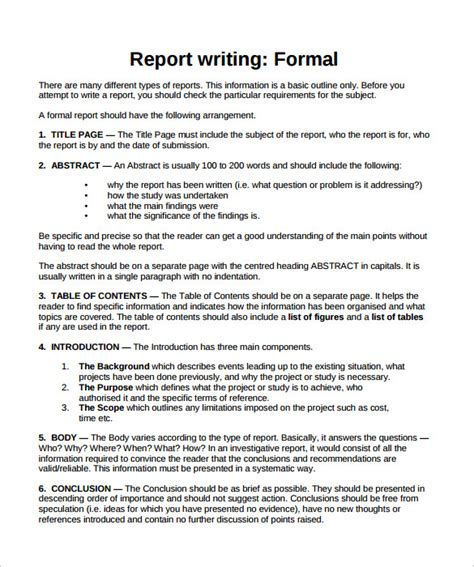Formal Report Template 24 Sle Formal Reports Sle Templates