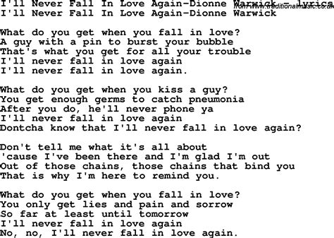 song lyrics for i ll never fall in again dionne