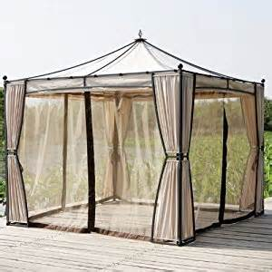 Gazebo Net Curtains Large Garden Gazebo Beige Powder Coated Shelter Shade Mosquito Net Insect Mesh And