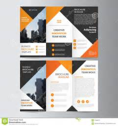 layout free abstract orange black triangle trifold leaflet brochure