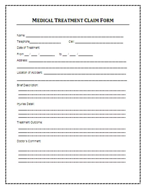treatment sheet template sle treatment claim form printable