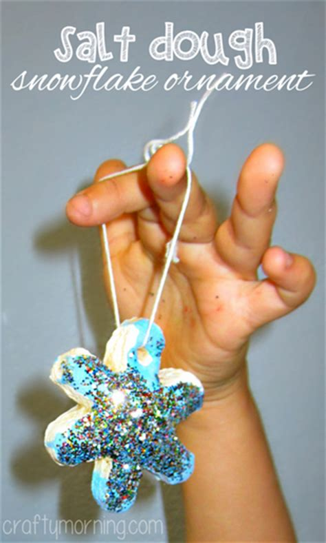 kid ornament crafts dough snowflake glitter ornaments craft for