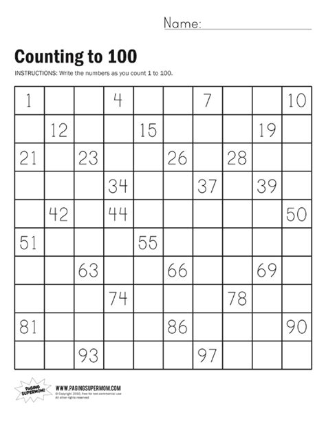 printable counting 1 100 worksheets kindergarten counting worksheets to 100 count by tens