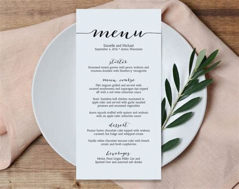 Table Menu Template 25 best ideas about wedding menu on wedding