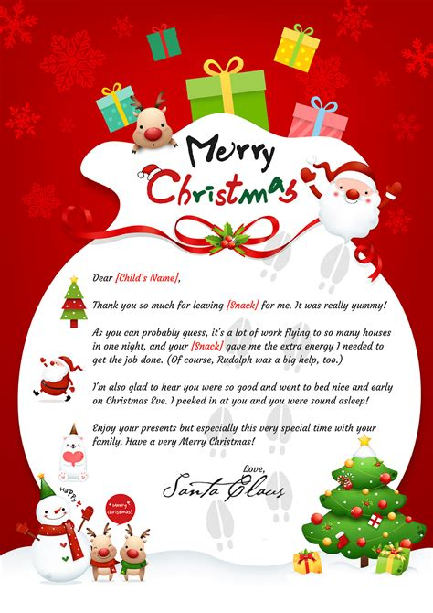 printable handwritten letter from santa santa thank you letter mailed or digitally delivered
