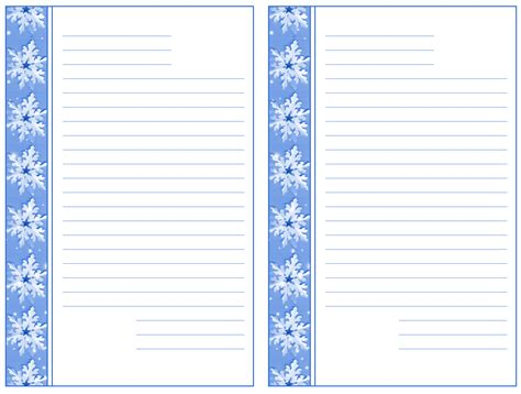 snowflake writing template snowflake border writing paper free