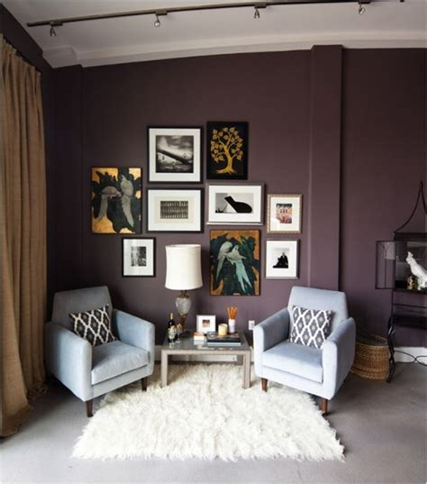 plum and gray living room decorating with purple