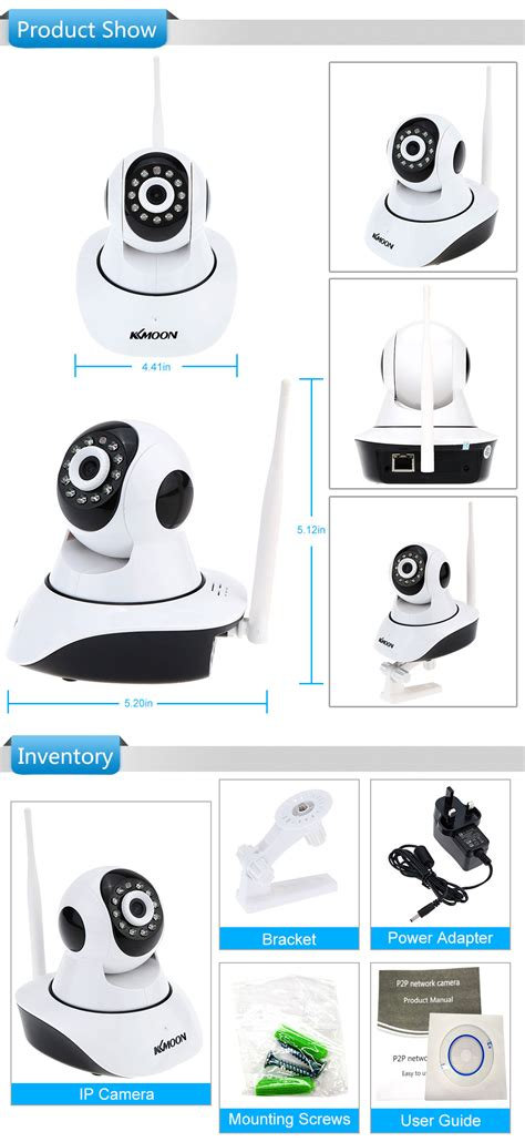 kkmoon wireless wifi 720p hd h 264 p2p 1mp ap ip cctv
