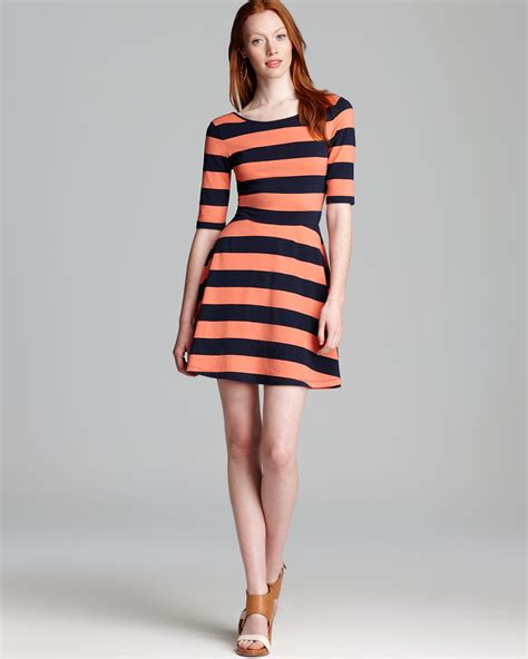 Bw Stripe Flare Dress Teal Pink connection dress stripe jersey flare in pink lyst