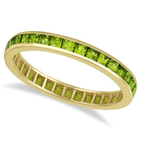 princess cut peridot eternity ring band 14k yellow gold 1 36ct