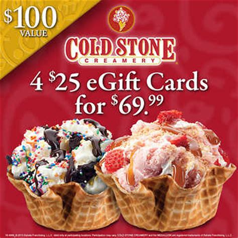 Coldstone Gift Cards - cold stone creamery 174 4 25 00 e gift cards