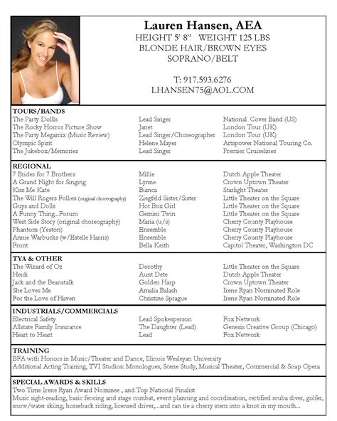 Theatre Resume Template by Actor Cv Template Theatre Acting Layout Actor Cv Exle