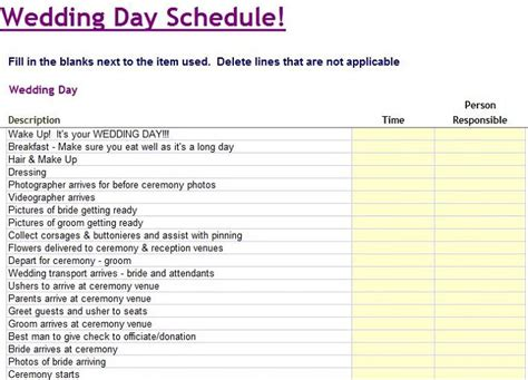 free wedding schedule template 35 beautiful wedding guest list itinerary templates