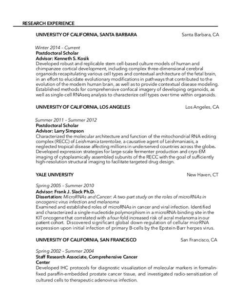 Biologist Sle Resumes by Molecular Biologist Resume Sle 28 Images Postdoc Cv Exle Biology Bestsellerbookdb 28 Images