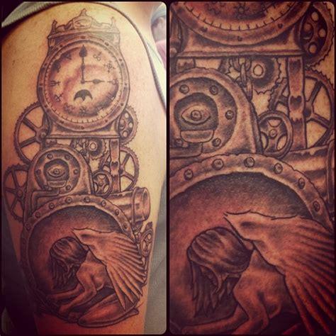 tattoo angel and clock grey ink clock and angel tattoo tattooshunt com