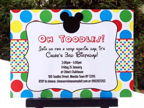 mickey mouse birthday invitation card template mickey mouse clubhouse printable invitation