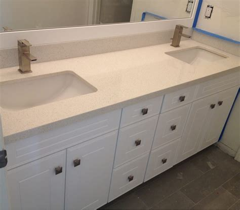 Silestone Bathroom Vanity 72 Quot Sink Vanity Premium White Cabinets With Silestone Blanc Countertops And Kohler
