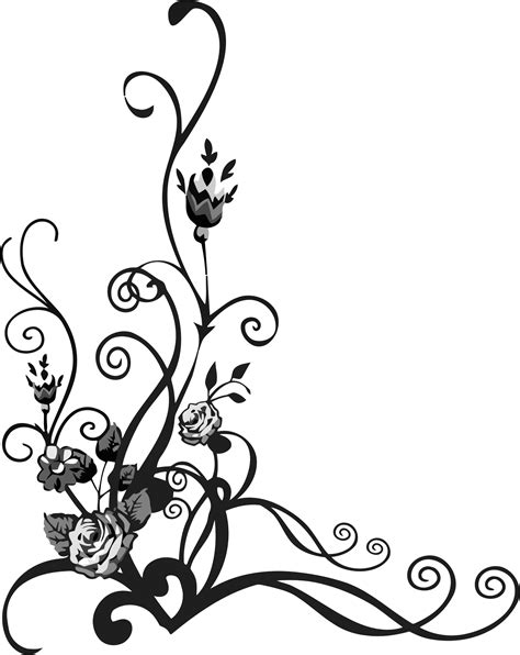 clipart rose floral flourish 3