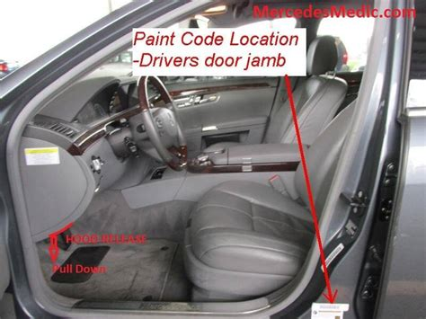 mercedes paint code location name