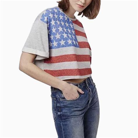 t shirt pattern vogue summer casual flag pattern women crop tops t shirt vogue