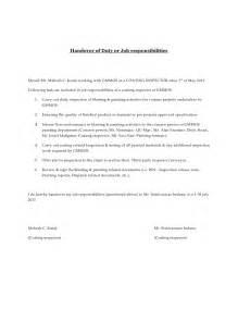handover of duty or job responsibilities