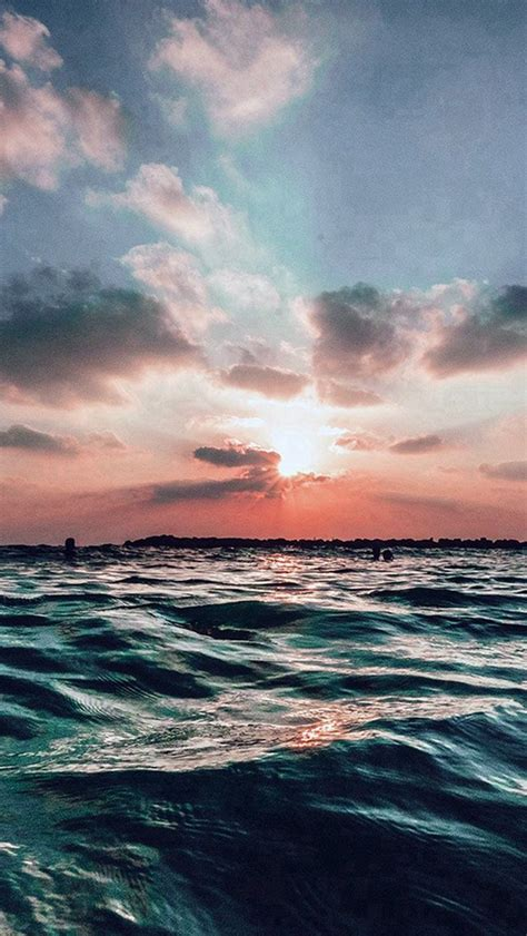 sunset sea sky ocean summer blue water nature iphone