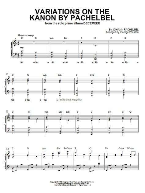 variations on the kanon by pachelbel sheet music direct