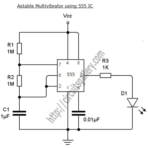 what is 555 integrated circuit astable multivibrator using ne 555 timer ic circuit diagram and working circuits gallery