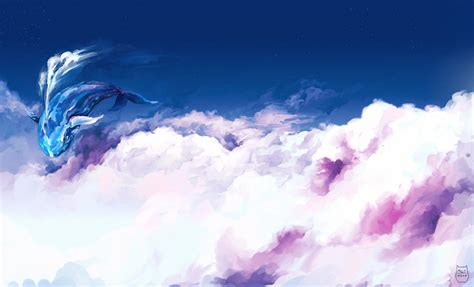 Sky Magic sky clouds whale magical bokeh wallpaper