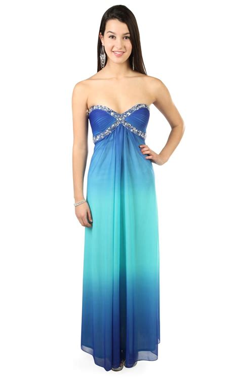 dress with beading strapless royal blue ombre prom dress with beading