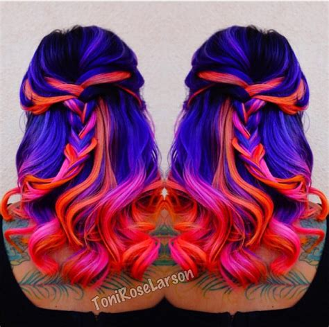 bright color hair dye black blue purple pink orange hair brightly colored