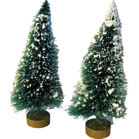 vintage flocked bottle brush trees with gold base ornament sold ruby