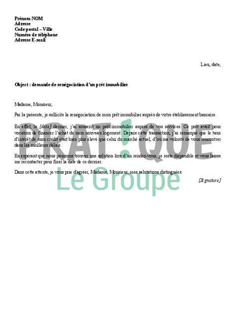 Demande De Pret Lettre Modele Lettre De Ren 233 Gociation D Un Pr 234 T Immobilier Pratique Fr