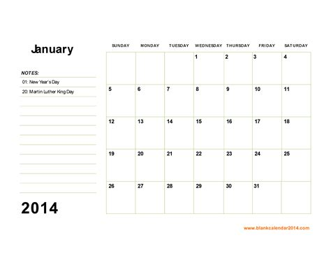 free blank calendar template 2014 6 best images of free printable calendar january 2014