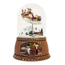 santa sleigh christmas snow globe musical moving ebay