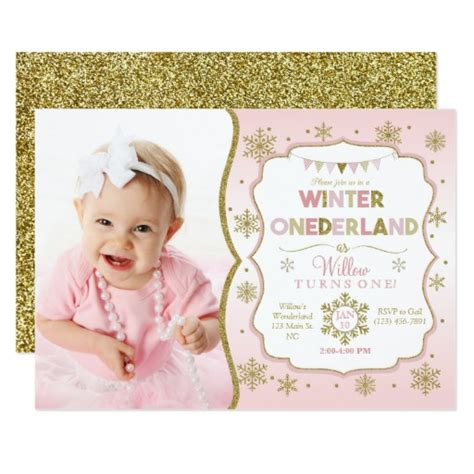 birthday card template winter onederland winter onederland snowflake birthday invitation zazzle