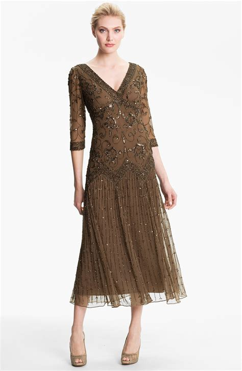 beaded mesh dress pisarro nights beaded lace gown in black slate save 26