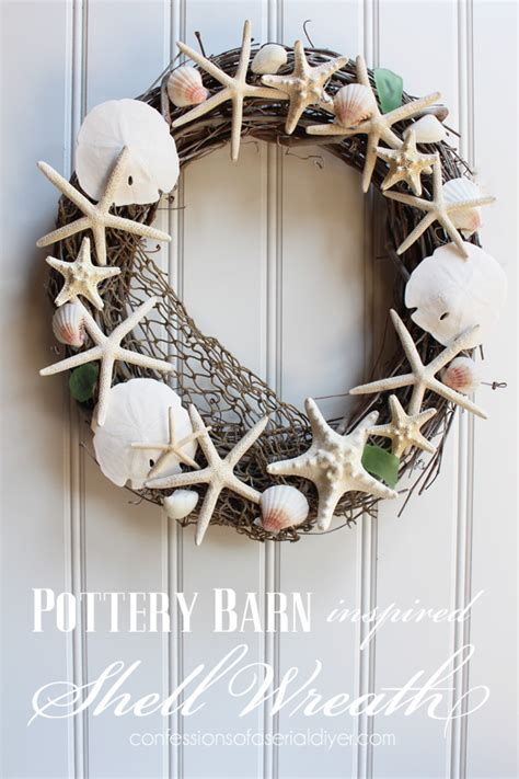 Door Wreaths Pottery Barn Pottery Barn Inspired Shell Wreath Confessions Of A Serial Do It Yourselfer