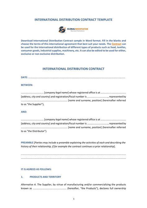 9 Distributorship Agreement Contract Forms Pdf Doc Distributor Agreement Template 2