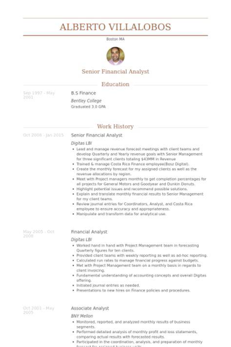 Senior Financial Analyst Sample Resume Senior Financial Analyst Resume Samples Visualcv Resume